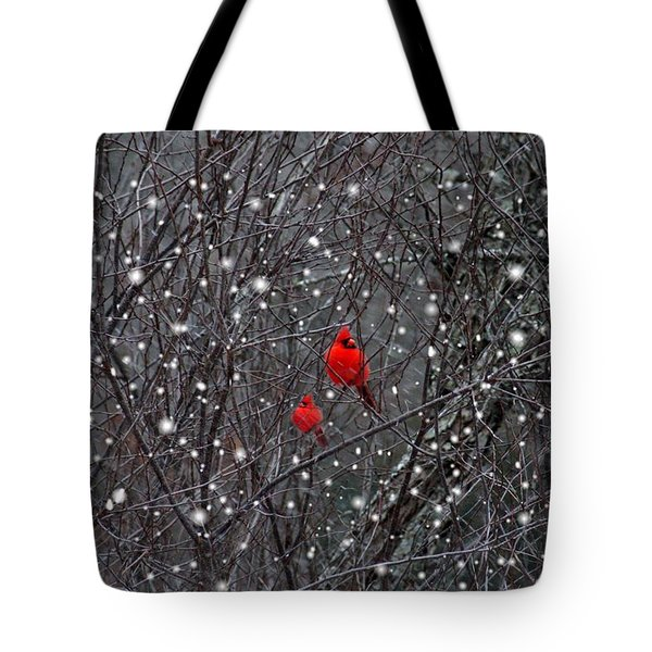 Red Snow Tote Bag by Bill Stephens