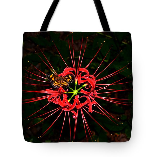 Red Spider Lily And Painted Lady Butterfly 001 Tote Bag