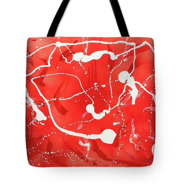 Tote Bag featuring the painting Red Spill by Thomas Blood