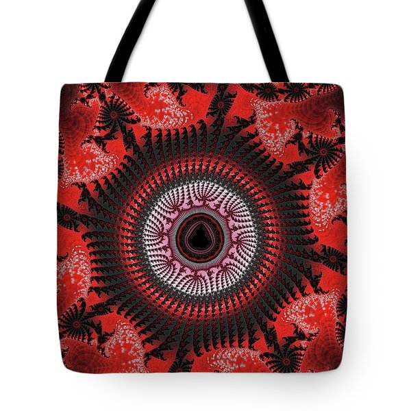 Red Spiral Infinity Tote Bag