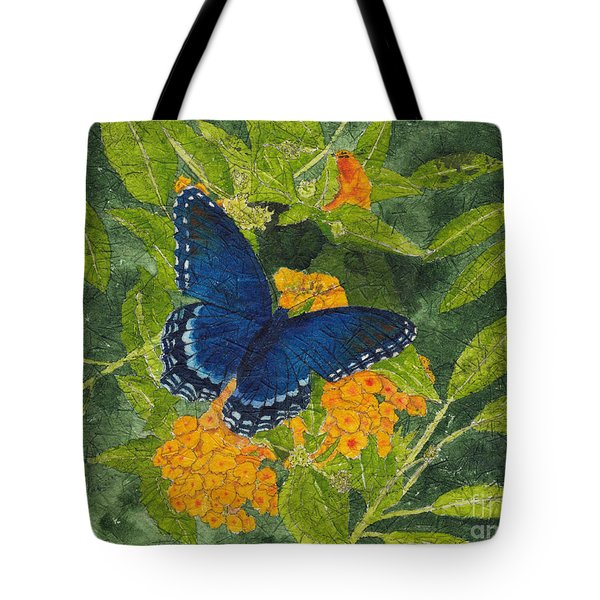 Red Spotted Purple Butterfly Batik Tote Bag