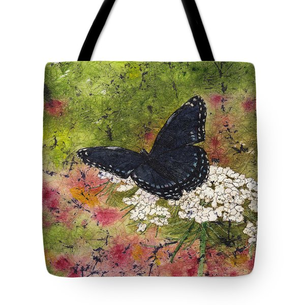Red Spotted Purple Butterfly Queen Annes Lace Batik Tote Bag