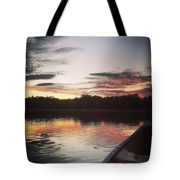 Red Spotted Sunset Tote Bag