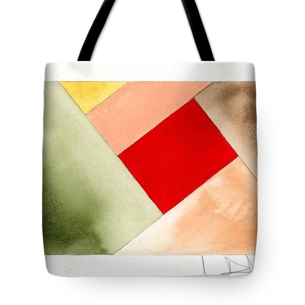Red Square Tanned Tote Bag