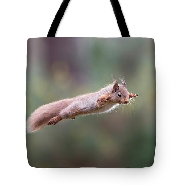 Red Squirrel Leaping Tote Bag