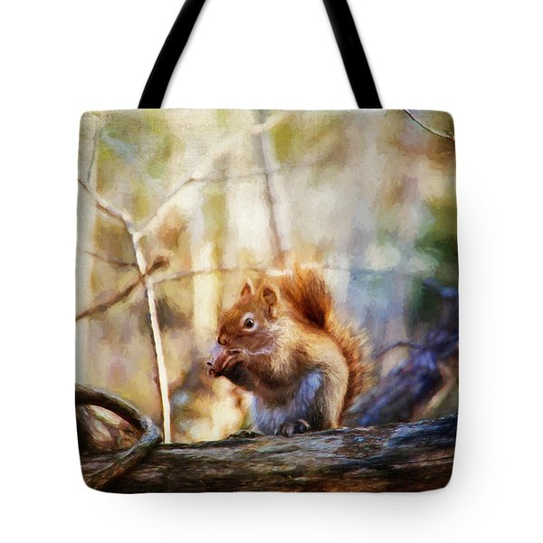 Red Squirrel With Pinecone Tote Bag