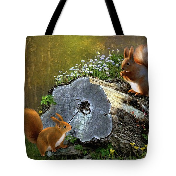 Red Squirrels Tote Bag