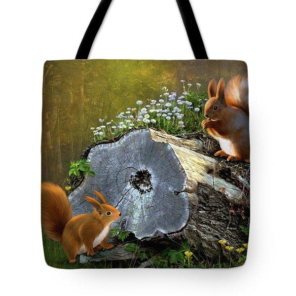 Red Squirrels Tote Bag