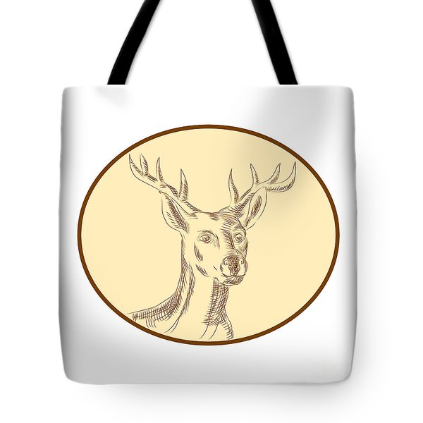 Red Stag Deer Head Circle Etching Tote Bag