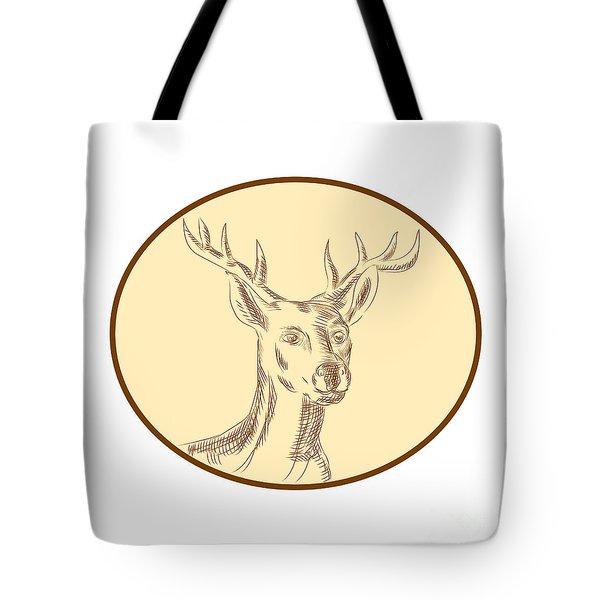Red Stag Deer Head Circle Etching Tote Bag by Aloysius Patrimonio