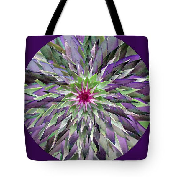 Red Star Thistle Kaleidoscope Tote Bag