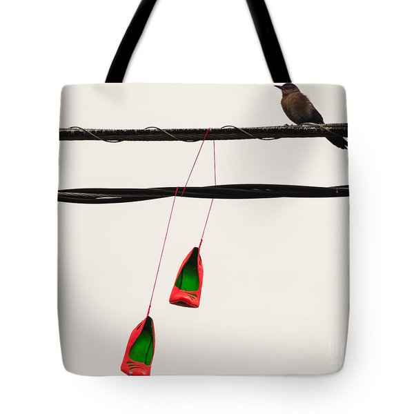 Red Stilettos With Bird Tote Bag