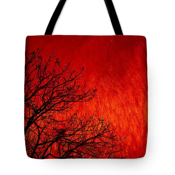 Red Storm Tote Bag by Charuhas Images