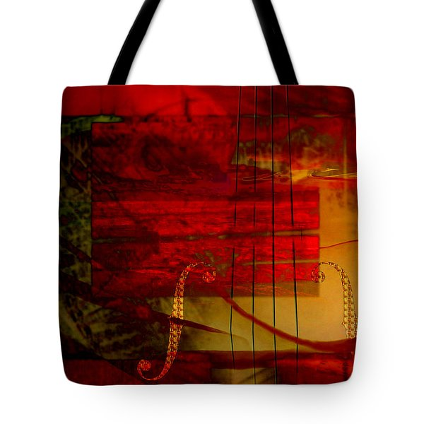 Tote Bag featuring the digital art Red Strings by Art Di