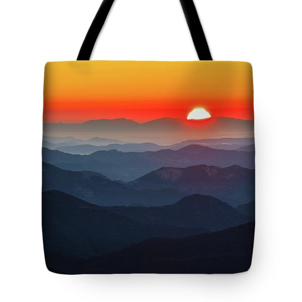 Red Sun In The End Of Mountain Range Tote Bag