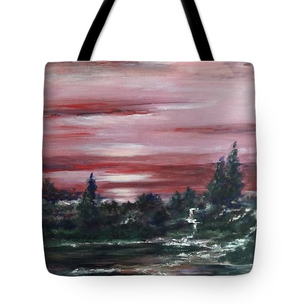 Tote Bag featuring the painting Red Sun Set  by Laila Awad Jamaleldin