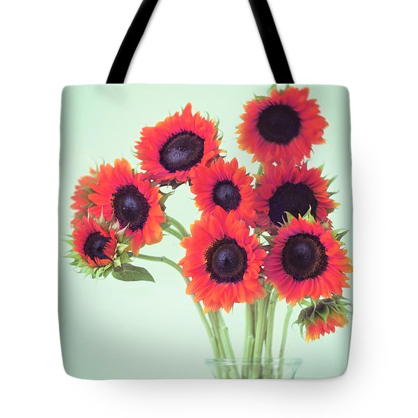Tote Bag featuring the photograph Red Sunflowers by Amy Tyler