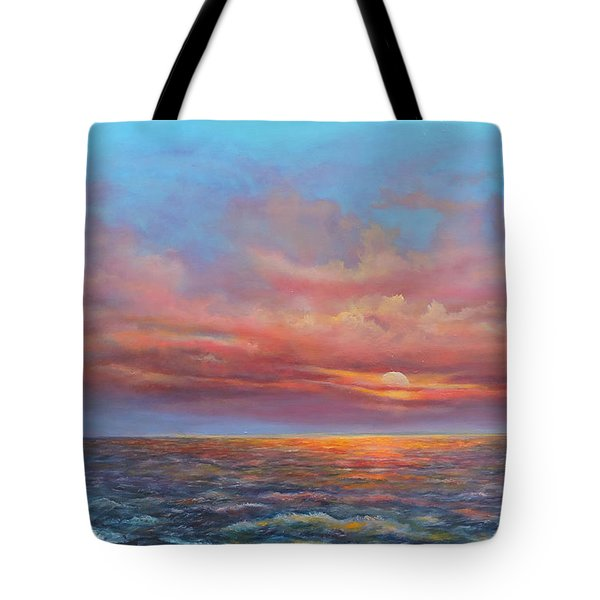 Tote Bag featuring the painting Red Sunset At Sea by Katalin Luczay