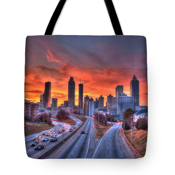 Red Sunset Atlanta Downtown Cityscape Tote Bag