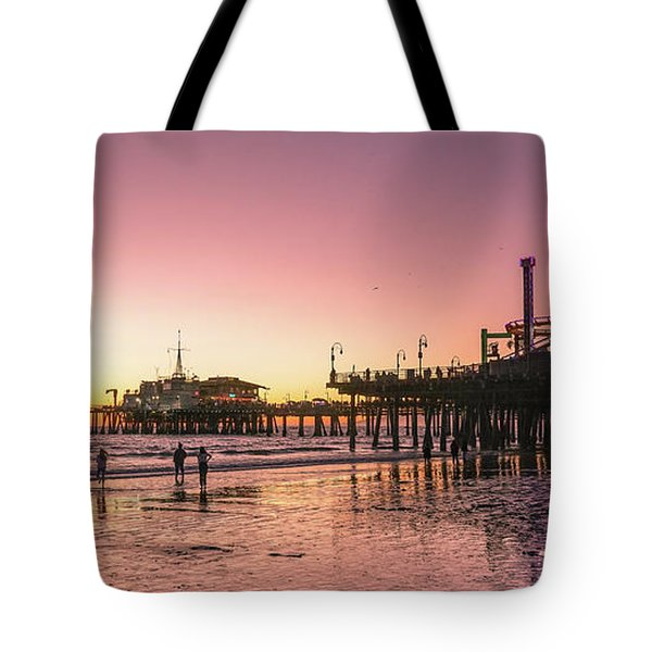 Tote Bag featuring the photograph Red Sunset In Santa Monica by Michael Hope