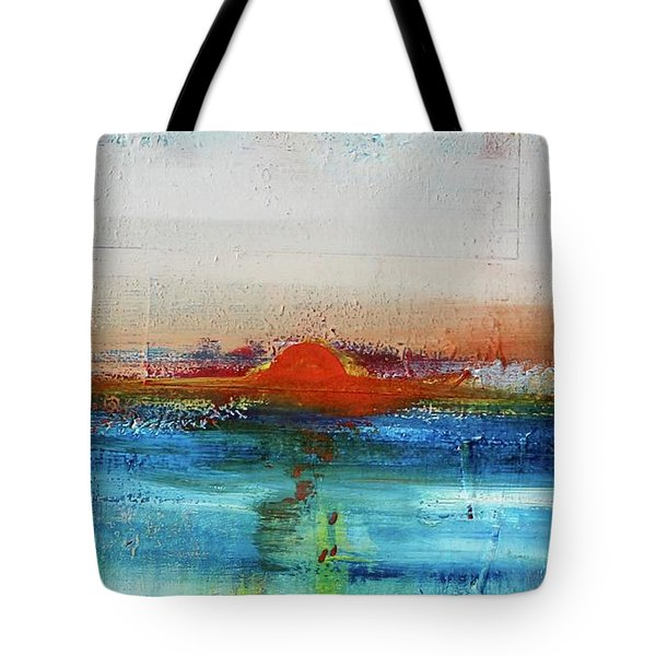 Tote Bag featuring the painting Red Sunset by Kim Nelson