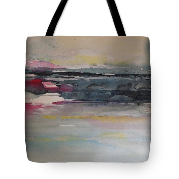 Red Sunset On The Lake Abstract Tote Bag