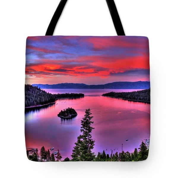 Red Tahoe Tote Bag by Scott Mahon
