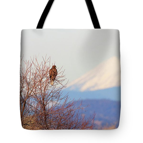Red-tailed Hawk And Mount Shasta - Northern California Tote Bag