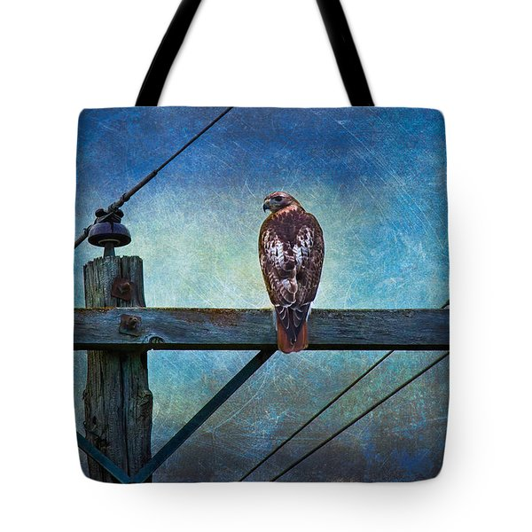 Red-tailed Hawk On Power Pole Tote Bag