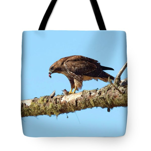 Red-tailed Hawk With Prey Tote Bag by Betty LaRue