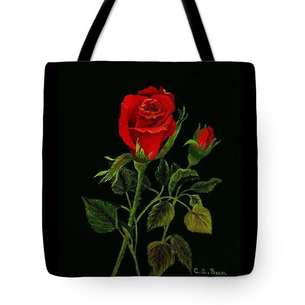 Red Tango Rose Bud Tote Bag