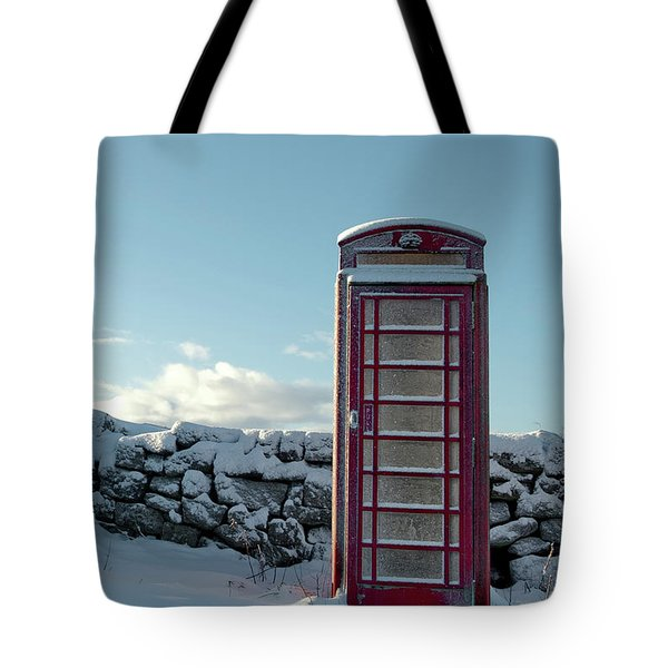Red Telephone Box In The Snow IIi Tote Bag