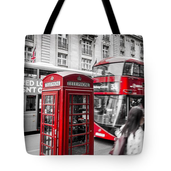 Red Telephone Box With Red Bus In London Tote Bag