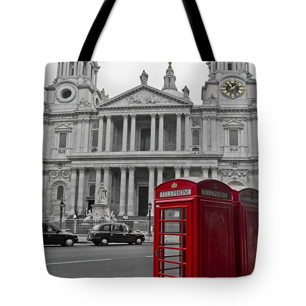Red Telephone Boxes In London Tote Bag by Gary Eason