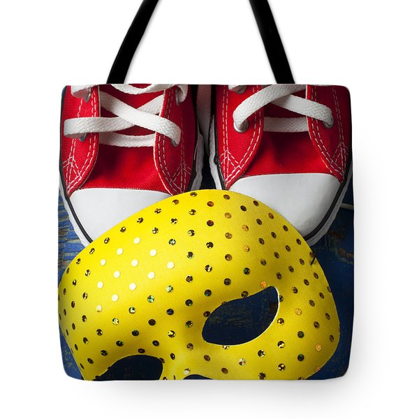 Red Tennis Shoes And Mask Tote Bag by Garry Gay