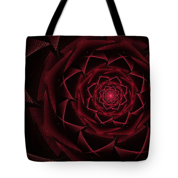 Red Textile Rose Tote Bag