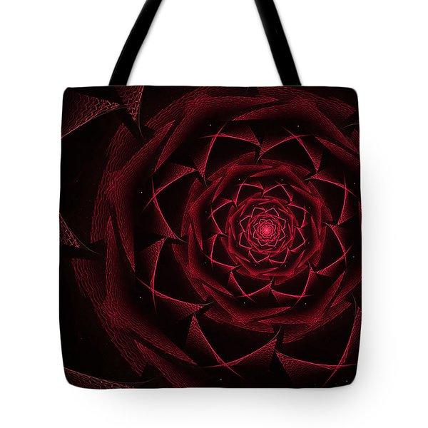 Red Textile Rose Tote Bag