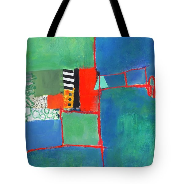 Tote Bag featuring the mixed media Red Thread by Elena Nosyreva