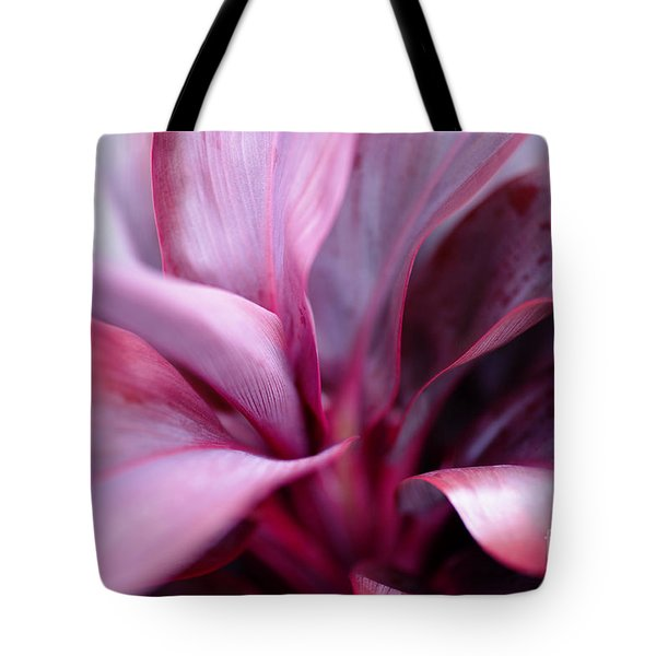 Tote Bag featuring the photograph Red Ti-leaf Macro by Charmian Vistaunet