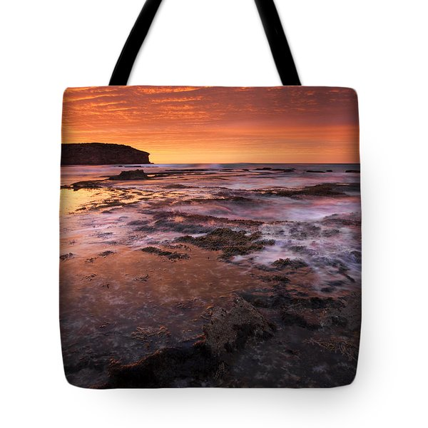 Red Tides Tote Bag by Mike  Dawson