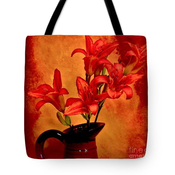 Red Tigerlilies In A Pitcher Tote Bag by Marsha Heiken