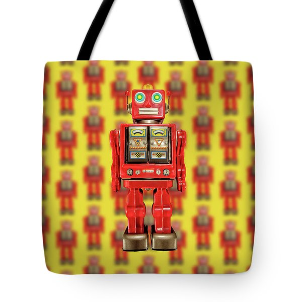Tote Bag featuring the photograph Red Tin Toy Robot Pattern by YoPedro