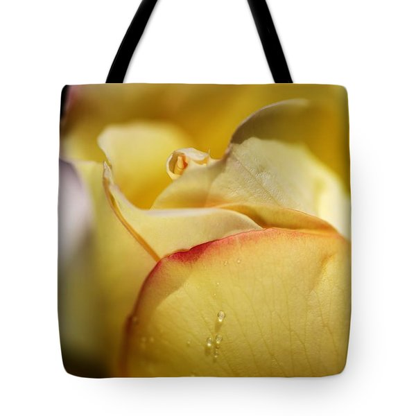 Red Tipped Yellow Rose Tote Bag by Joy Watson