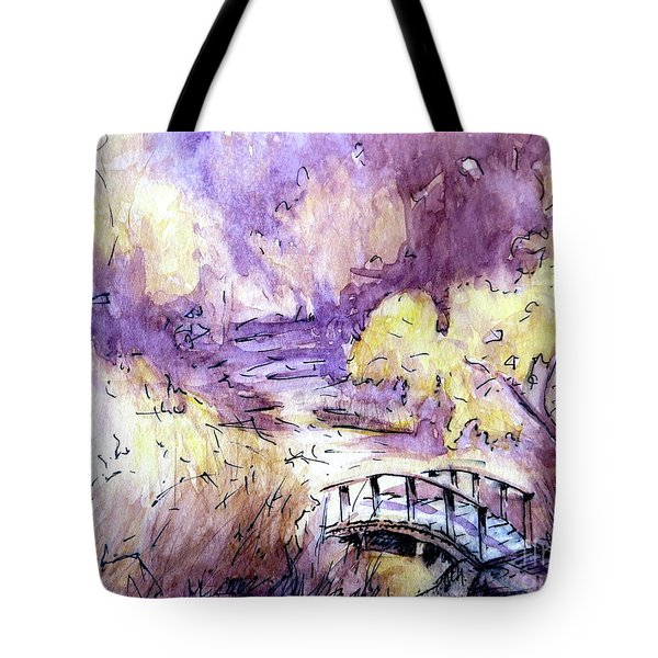 Red Top Mountain Bridge Tote Bag by Gretchen Allen