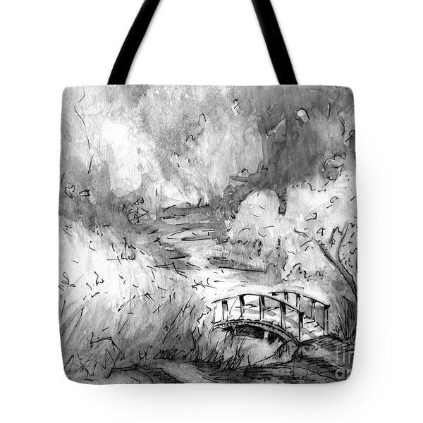 Red Top Mountain Bridge In Black And White Tote Bag by Gretchen Allen