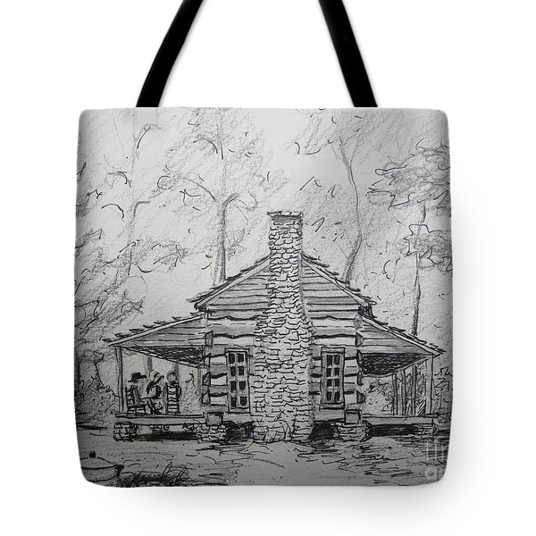 Red Top Mountain's Log Cabin Tote Bag by Gretchen Allen