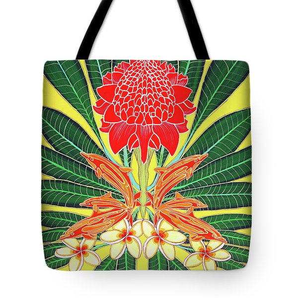 Red Torch Ginger Tote Bag by Debbie Chamberlin