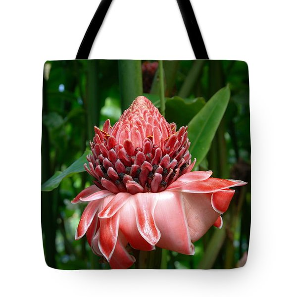 Red Torch Ginger Tote Bag by Tropical Ties Dominica