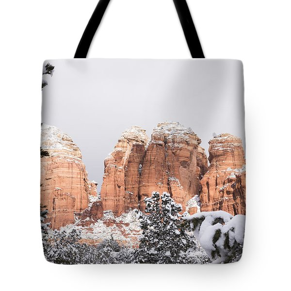 Red Towers Under Snow Tote Bag