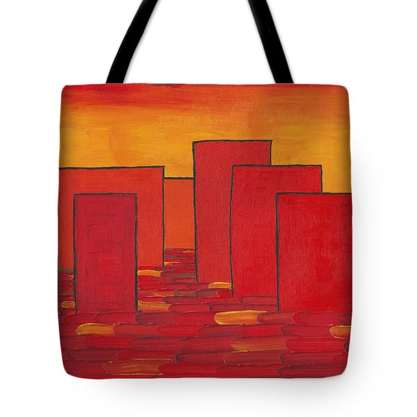 Red Town P1 Tote Bag by Manuel Sueess